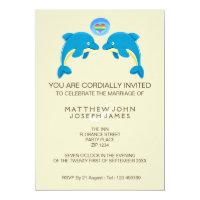 Gay Dolphin Love Heart Bubble Evening Reception Card