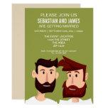 Gay Grooms With Beards Cartoon Wedding Themed Invitation