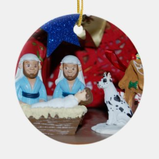 Gay Nativity: Love Makes a Holy Family Ceramic Ornament