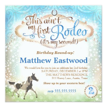 GC Boy This Ain't My First Rodeo 2nd Birthday Invitation