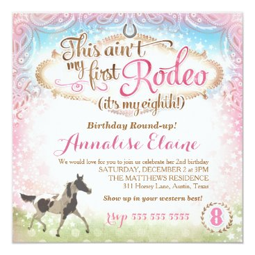 GC This Ain't My First Rodeo 8th Birthday Invitation