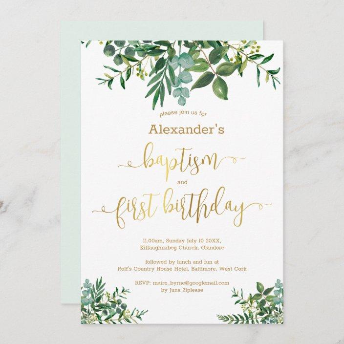 gender neutral green gold baptism 1st birthday invitation zazzle com