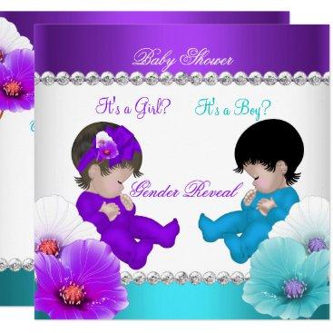 Gender Reveal Baby Shower Purple Teal Blue Br Card