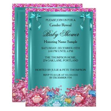 Gender Reveal Baby Shower Teal Pink Crystals 2 Card