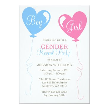 Gender Reveal Heart Balloons Pink Blue Ivory Invitation