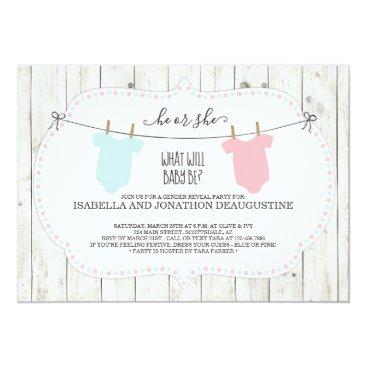 Gender Reveal Invitation | Rustic Clothesline