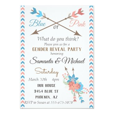 Gender Reveal Party Arrow Blue Pink Boho Flowers Invitation