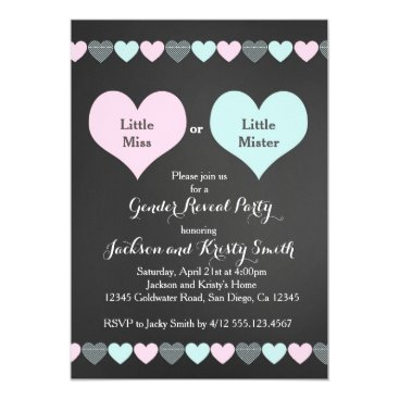 Gender Reveal Party Invitation Hearts