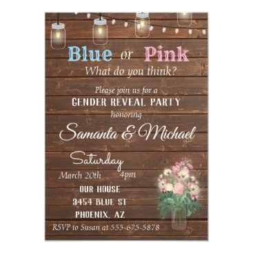 Gender Reveal Party Invite Wood Rustic Lights