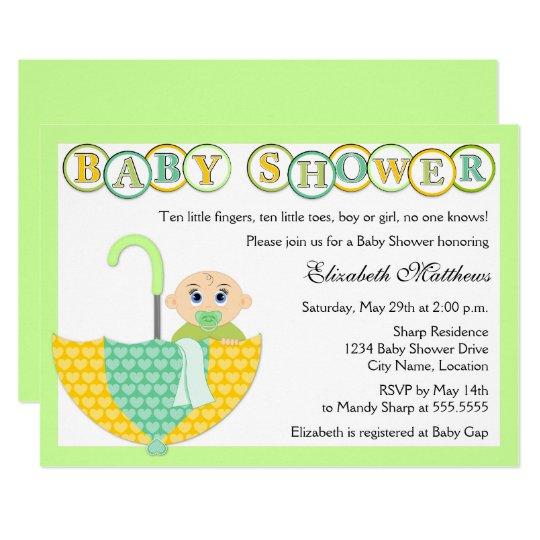 Gender Unknown Umbrella Baby Shower Invitation