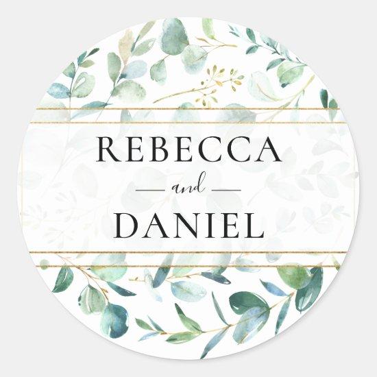 Geometric Eucalyptus Greenery Personalized Wedding Classic Round Sticker