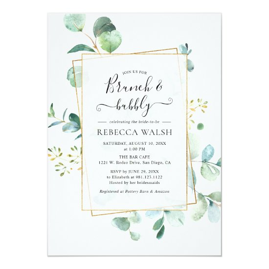 Geometric Greenery Brunch and Bubbly Bridal Shower Invitation
