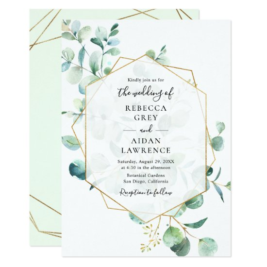 Geometric Greenery Eucalyptus Leaves Wedding Invitation