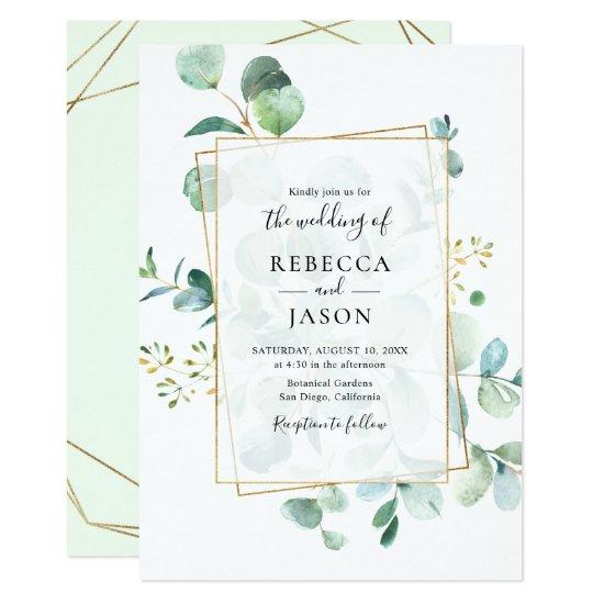 Geometric Greenery Eucalyptus Wedding Invitation