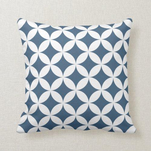 Geometric Hypocycloid Pattern Denim Blue Throw Pillow