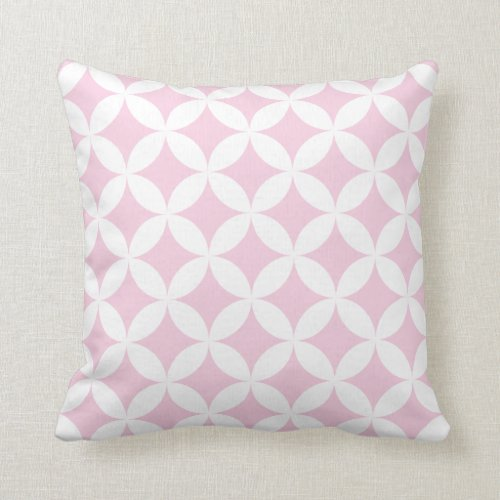 Geometric Hypocycloid Pattern Pastel Pink Throw Pillow