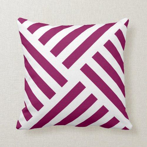 Geometric Pinwheel Stripe in Summer Berry Throw Pillow