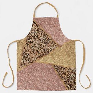 Geometric Rose Gold Blush Glitter Leopard Apron