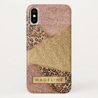 Geometric Rose Gold Blush Glitter Leopard iPhone X Case