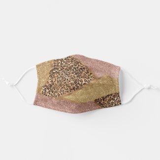 Geometric Rose Gold Blush Glitter Leopard Cloth Face Mask