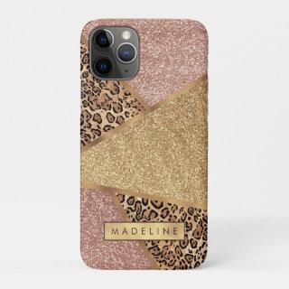 Geometric Rose Gold Blush Glitter Leopard Pattern iPhone 11 Pro Case