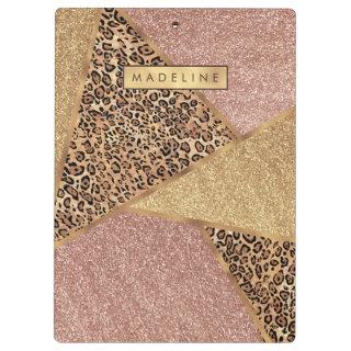 Geometric Rose Gold Blush Glitter Leopard Pattern Clipboard