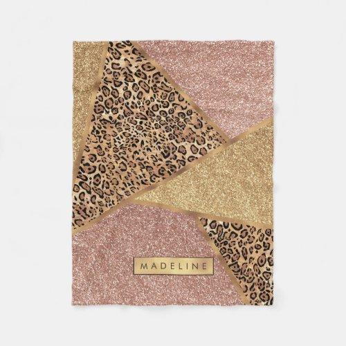 Geometric Rose Gold Blush Glitter Leopard Pattern Fleece Blanket