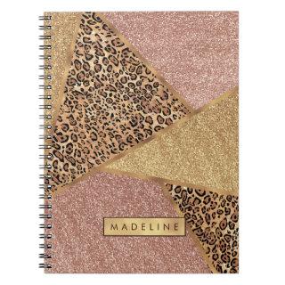 Geometric Rose Gold Blush Glitter Leopard Pattern Notebook