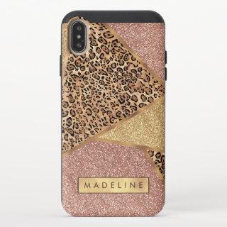 Geometric Rose Gold Blush Glitter Leopard Pattern iPhone XS Max Slider Case