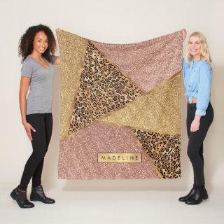 Geometric Rose Gold Blush Glitter Leopard Print Fleece Blanket