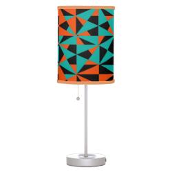Geometric Teal Orange Black Funky Pattern Table Lamps