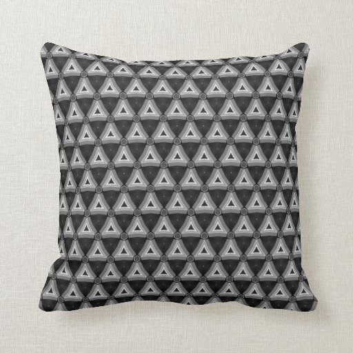 Geometric Triangles Black White Pattern Cushion