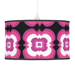 Geometrical Pink Purple Flower Squares Pattern Ceiling Lamps