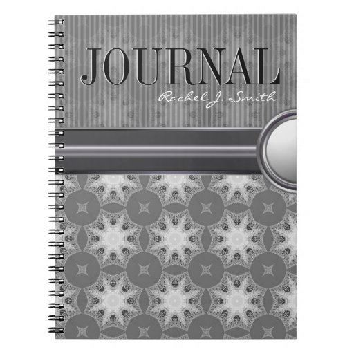 Geometry Silver White Snowflake Pattern Journal