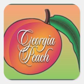 Georgia Peach Square Sticker