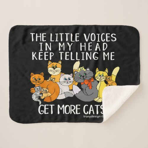 Get More Cats Funny Saying Black Sherpa Blanket