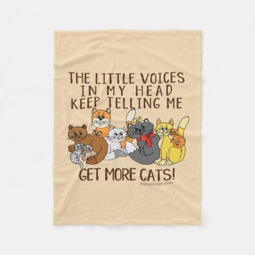 Get More Cats Funny Saying Fleece Blanket