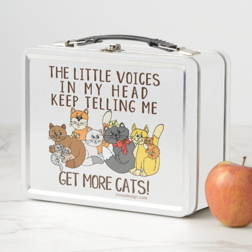 Get More Cats Funny Saying Metal Lunch Box
