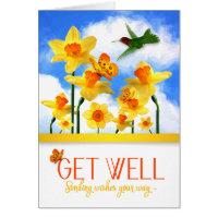 Get Well Daffodil Garden with Hummingbird Card