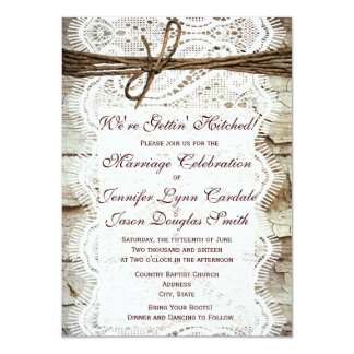 Getting Hitched Rustic Country Wedding Invitations