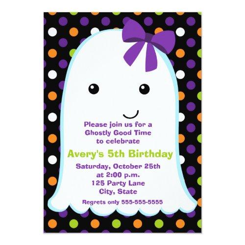 Ghost Girl Halloween   Kids Halloween Birthday Invitation