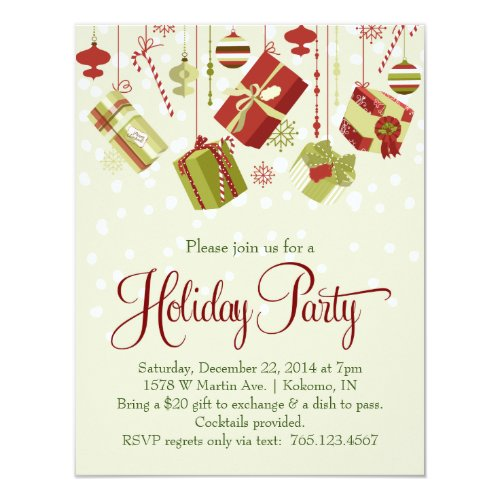 Gift Exchange Holiday Christmas Party Invitation