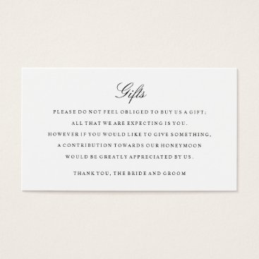 Gift Registry Insert Cards Black and White