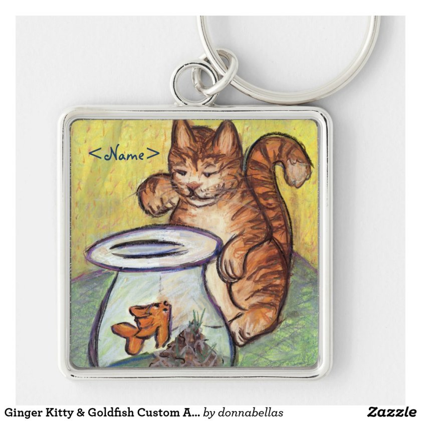 Ginger Kitty & Goldfish Custom Art Keychain