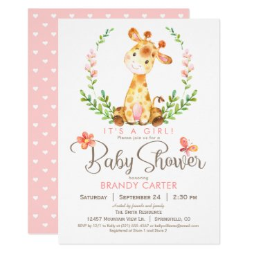 Giraffe Baby Shower, Girl Card