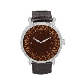 Giraffe Skin Print Pattern Wrist Watches