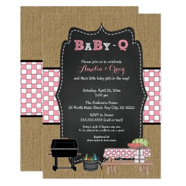 Girl Baby-Q Baby Shower, BBQ baby shower invites