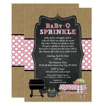 Girl BabyQ Sprinkle, BBQ Baby Shower, BABY Q Card