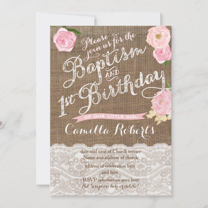 girl baptism birthday invitations pink baptism invitation zazzle com