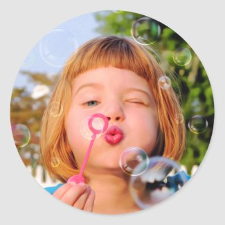 Girl Blowing Bubbles Classic Round Sticker